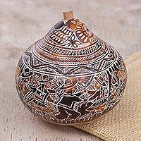 Dried mate gourd decorative box, 'Folk Traditions' - Hand Carved Gourd Decorative Box with Andean Folk Traditions