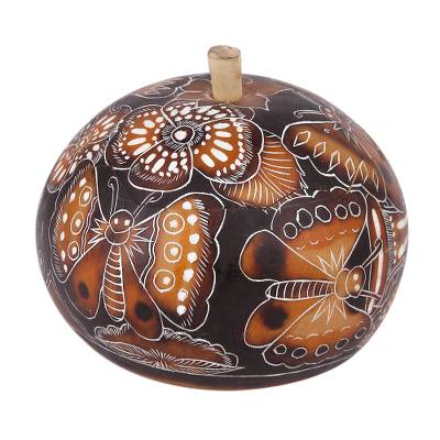 Gourd decorative box, 'Butterfly Delight' - Hand Carved Butterflies and Flowers Gourd Decorative Box