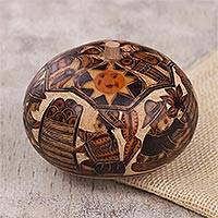Gourd decorative box, 'Honoring Tradition' - Hand Carved Andean Traditional Village Gourd Decorative Box