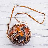 Gourd sling bag, 'Andean Trek' - Hand Carved Gourd Shoulder Bag with Leather Accent Strap