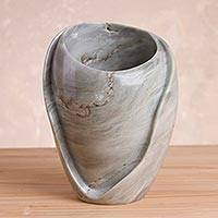 Huamanga stone decorative vase, 'Huamanga Waves' - Handcrafted Huamanga Stone Decorative Vase from Peru