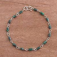 Chrysocolla link bracelet, 'Green Party' - Chrysocolla and Sterling Silver Link Bracelet from Peru