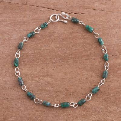 Chrysocolla Link Bracelet Bay Treasures And Sterling Silver From