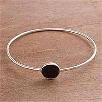 Obsidian pendant bangle bracelet, 'Eye of the Universe' - Obsidian and Sterling Silver Pendant Bracelet from Peru