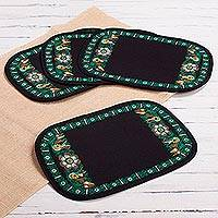 Embroidered placemats, 'Valley Secret in Viridian' (set of 4) - Floral Embroidered Peruvian Placemats in Viridian (Set of 4)