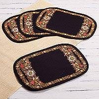 Embroidered placemats, 'Valley Secret in Tangerine' (set of 4) - Floral Embroidered Placemats in Tangerine (4) from Peru