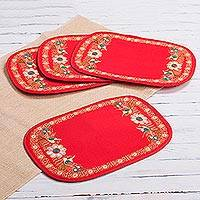 Embroidered placemats, 'Tomato Valley Secret' (set of 4) - Floral Embroidered Placemats in Tomato (Set of 4) from Peru