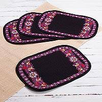 Embroidered placemats, 'Valley Secret in Carnation' (set of 4) - Floral Embroidered Placemats in Carnation (4) from Peru