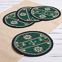 Embroidered placemats, 'Chivay Pampas' (set of 4) - Floral Viridian Embroidered Placemats (Set of 4) from Peru