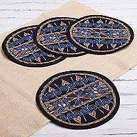 Embroidered placemats, 'Heart Shower in Sky Blue' (set of 4) - Heart Motif Placemats in Sky Blue (Set of 4) from Peru