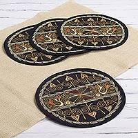 Embroidered placemats, 'Heart Shower in Pumpkin' (set of 4) - Heart Motif Placemats in Pumpkin (Set of 4) from Peru