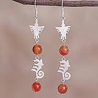 Agate dangle earrings, 'Nazca Worldview' - Agate and Silver Nazca Hummingbird Monkey Dangle Earrings