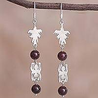 Garnet dangle earrings, 'Nazca Duo' - Garnet and Silver Nazca Parrot Spider Dangle Earrings