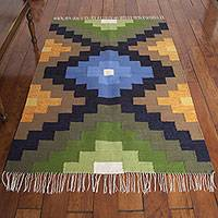 Wool area rug, 'Power of Three' (4x6) - Incan-Inspired Hand Woven Wool Area Rug (4x6)