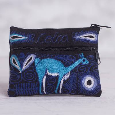 Embroidered coin purse, 'Colca Deer' - Deer-Themed Embroidered Coin Purse from Peru