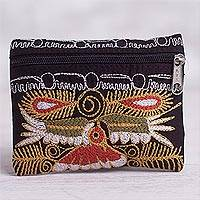 Embroidered coin purse, 'Colca Condor' - Handcrafted Embroidered Coin Purse from Peru