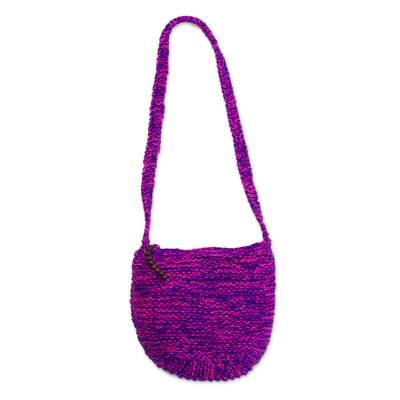Fuchsia and Blue-Violet Knitted Jute Sling Handbag from Peru