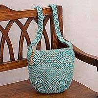 Jute sling bag, 'Sky Waves' - Cerulean and Buff Knitted Jute Sling Handbag from Peru