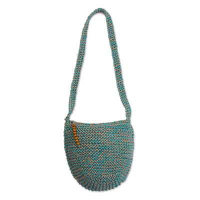 Cerulean and Buff Knitted Jute Sling Handbag from Peru