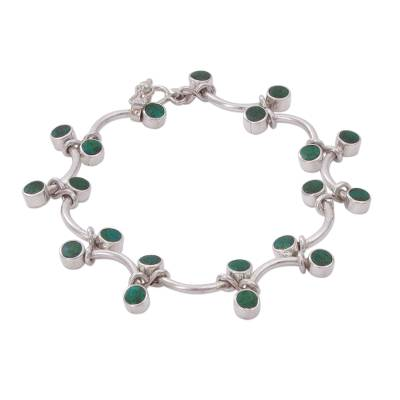 Chrysocolla and Sterling Silver Link Bracelet from Peru