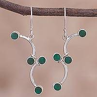 Chrysocolla dangle earrings, 'Green Branches' - Chrysocolla and Sterling Silver Dangle Earrings from Peru