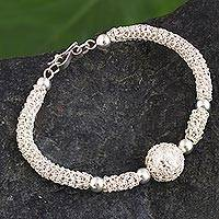 Sterling silver filigree wristband bracelet, 'Shining Luxury' - Sterling Silver Wristband Filigree Bracelet from Peru