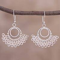 Sterling silver filigree dangle earrings, 'Shining Glory' - Sterling Silver Filigree Dangle Earrings from Peru