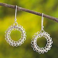 Sterling silver filigree dangle earrings, 'Cusco Circles' - Round Sterling Silver Filigree Dangle Earrings from Peru