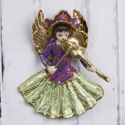 Handcrafted Cuzco Wall Sculpture of an Angel Violinist, 'Angel Violinist'