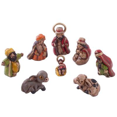 Andean Handcrafted Ceramic Mini Nativity Scene (8 Pieces)