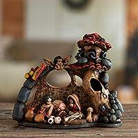 Ceramic sculpture, 'Christmas in the Grotto' - Rustic Peruvian Handcrafted Ceramic Nativity Scene Sculpture