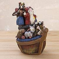 Ceramic figurine, 'Noah Aboard the Ark' - Peruvian Handcrafted Ceramic Figurine of Noah and the Ark