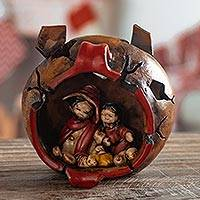 Ceramic figurine, 'Christmas in a Clay Pot' - Whimsical Peruvian Naif Nativity Scene in Ceramic