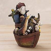 Ceramic figurine, 'All Aboard Noah's Ark' - Handcrafted Ceramic Figurine of Noah and the Ark