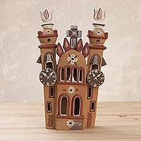 Ceramic sculpture, 'Church of Quinuapata' - Handmade Ceramic Church Sculpture in Earth Tones from Peru