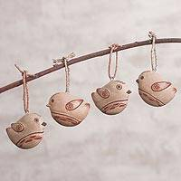 Terracotta ornaments, 'Andean Songbirds' (set of 4) - 4 Handcrafted Andean Terracotta Bird Ornaments from Peru