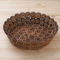 Walnut shell decorative bowl, 'Beauty Revealed' - Walnut Shell Decorative Bowl