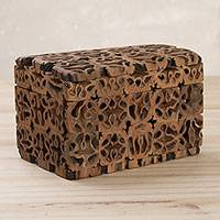 Walnut shell decorative box, 'Nature's Treasure' (5 inch) - Walnut Shell Decorative Box with Hinged Lid (5 inch)