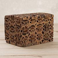 Walnut shell decorative box, 'Nature's Treasure' (4 inch) - Walnut Shell Decorative Box with Hinged Lid (4 inch)
