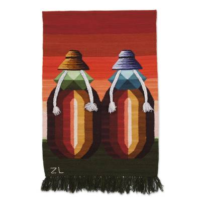 100% Wool Tapestry of Two Andean Women with Bright Colors