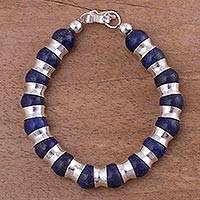 Lapis lazuli beaded bracelet, 'Passion of Peru in Blue' - Peruvian Lapis Lazuli and Sterling Silver Beaded Bracelet