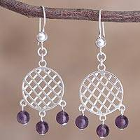 Amethyst beaded dangle earrings, 'Dream Chasers' - Long Amethyst and Sterling Silver Dangle Earrings from Peru