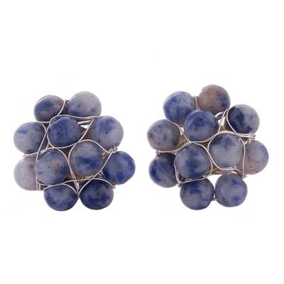 Sodalite and Sterling Silver Cluster Button Earrings