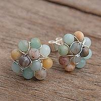 Opal cluster button earrings, 'Andean Corsage in Pastel' - Peruvian Opal and Sterling Silver Cluster Button Earrings