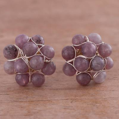 Lepidolite cluster button earrings, 'Andean Corsage in Wine' - Lepidolite and Sterling Silver Cluster Button Earrings