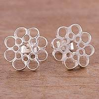 Sterling silver button earrings, 'Honeycomb Blossom' - Artisan Crafted Sterling Silver Button Earrings from Peru