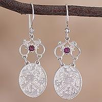 Rhodolite dangle earrings, 'Cultural Secret' - Rhodolite and Sterling Silver Dangle Earrings from Peru