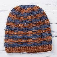 Alpaca blend hat, 'Elegant Mix' - Striped Alpaca Blend Hat in Pumpkin and Azure from Peru