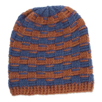 Striped Alpaca Blend Hat in Pumpkin and Azure from Peru