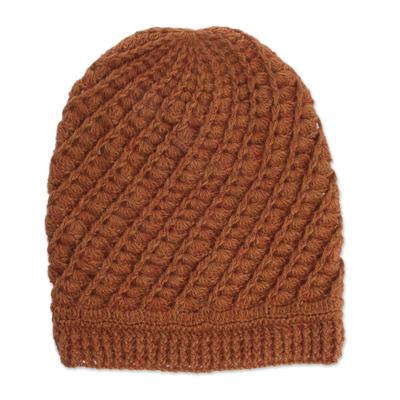 Hand-Crocheted Alpaca Blend Hat in Pumpkin from Peru